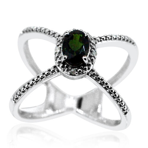 Russian Diopside (Ovl), Diamond Criss Cross Ring in Rhodium Plated Sterling Silver.