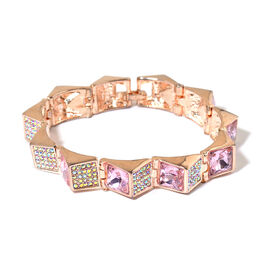 Simulated Pink Sapphire and White Austrian Crystal Bracelet (Size 7) in Rose Gold Tone