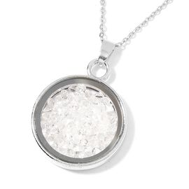 Simulated White Diamond - Coin Shape Pendant With Chain (Size 24)