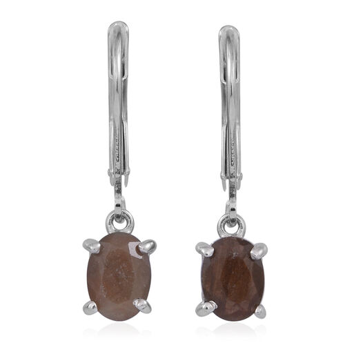Chocolate Sapphire (Ovl) Lever Back Earrings in Rhodium Plated Sterling Silver 2.500 Ct.