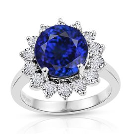 RHAPSODY 950 Platinum AAAA Tanzanite (Rnd 6.15 Ct), Diamond Ring 7.150 Ct.