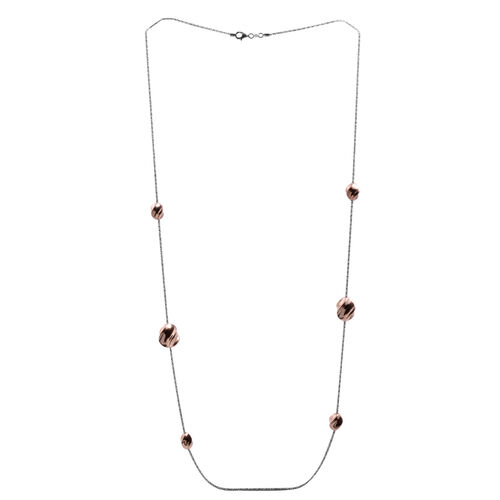 JCK Vegas Collection White and Rose Gold Overlay Sterling Silver Bead Station Chain (Size 36), Silver wt 15.90 Gms.