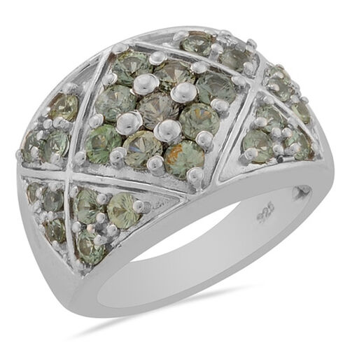 Green Sapphire (Rnd) Ring in Platinum Overlay Sterling Silver  2.15 Ct.