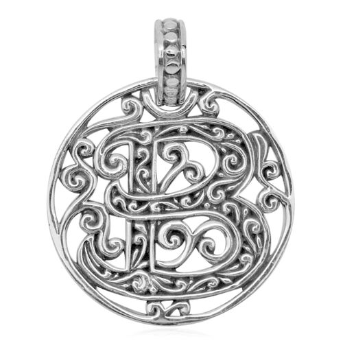 Royal Bali Collection Sterling Silver Initial B Pendant, Silver wt 3.80 Gms.
