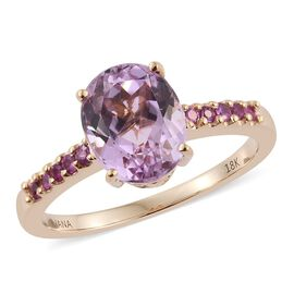 Tuscon Collection-ILIANA 18K Y Gold AAAA Kunzite (Ovl 3.35 Ct), AAAA Pink Sapphire Ring 3.500 Ct.