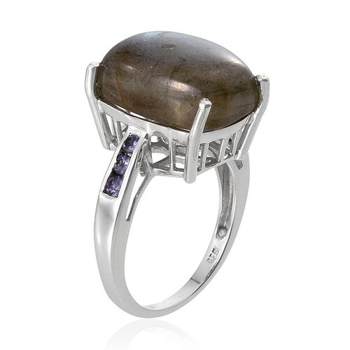 Labradorite (Cush 10.25 Ct), Iolite Ring in Platinum Overlay Sterling Silver 10.500 Ct.