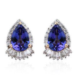 ILIANA 18K Yellow Gold 3 Carat AAA Tanzanite Stud Earrings With Diamond SI G-H