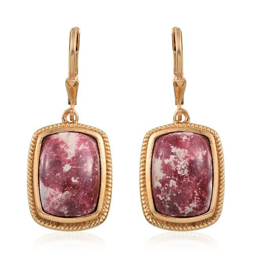 Norwegian Thulite (Cush) Earrings in 14K Gold Overlay Sterling Silver 14.250 Ct.