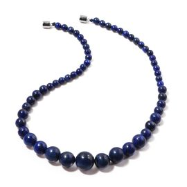 Lapis Lazuli Round Graduated Bead Necklace (Size 20) in Rhodium Plated Sterling Silver 380.000 Ct.
