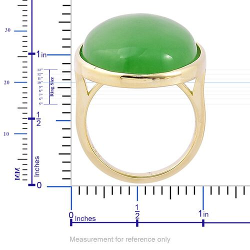 Chinese Green Jade (Ovl) Ring in Yellow Gold Overlay Sterling Silver 28.500 Ct.