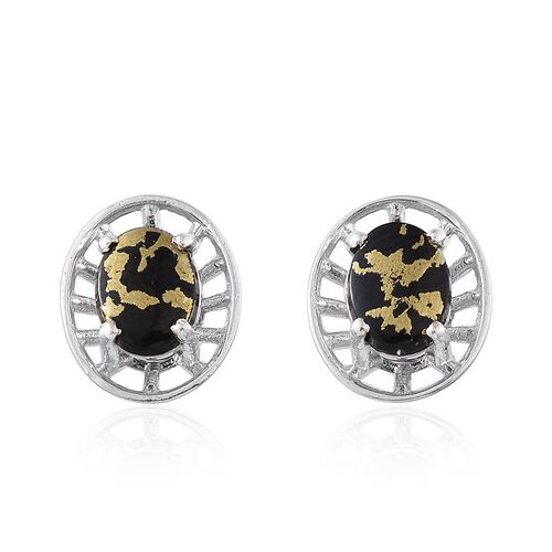Goldenite (Ovl) Stud Earrings (with Push Back) in Platinum Overlay Sterling Silver 1.500 Ct.