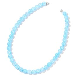 Simulated Blue Topaz Ball Beaded Necklace (Size 20) with Magnetic Clasp