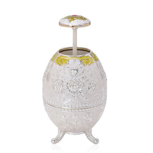Home Decor - White Colour Enameled Floral and Filigree Pattern Egg Shape Multi Purpose Dispenser with Bottle Opener at Bottom