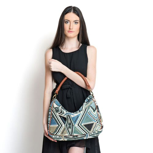 NEW SEASON  Multi Colour Jacquard Handbag with Removable Strap (Size 44x25x10 Cm )