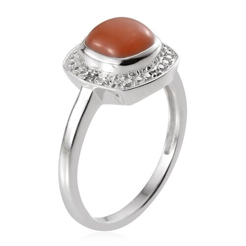 Mitiyagoda Peach Moonstone (Cush 2.50 Ct), Diamond Ring in Platinum Overlay Sterling Silver 2.520 Ct.