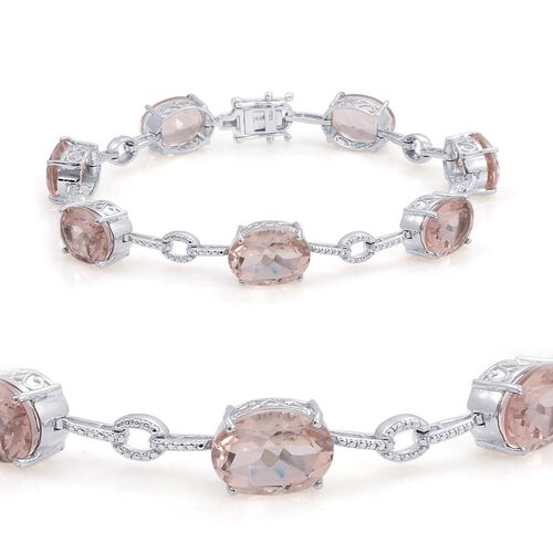 Morganite Quartz (Ovl), Diamond Bracelet (Size 9) in Platinum Overlay Sterling Silver 26.510 Ct.