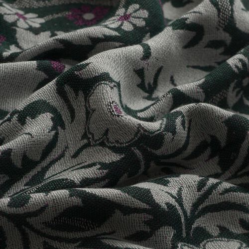 Multi Colour Floral Pattern Green Colour Scarf (Size 175x70 Cm)