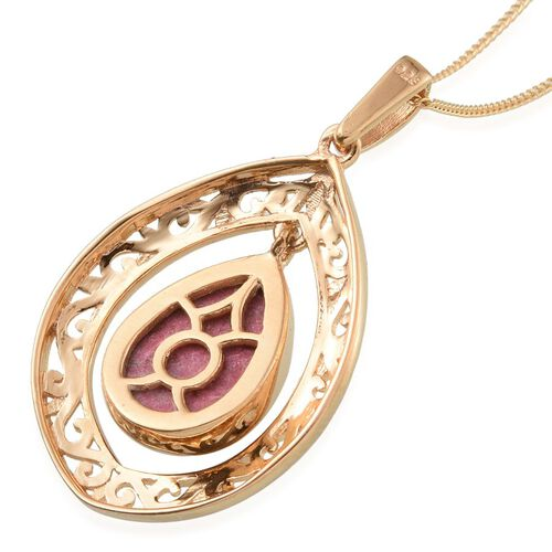 Norwegian Thulite (Pear) Solitaire Pendant With Chain in 14K Gold Overlay Sterling Silver 5.000 Ct.