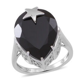Boi Ploi Black Spinel (Pear) Star Ring in Rhodium Plated Sterling Silver 20.000 Ct.