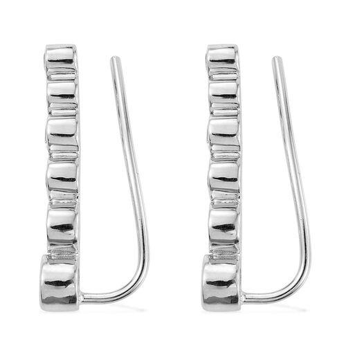 Espirito Santo Aquamarine 0.85 Ct Silver Climber Earrings in Platinum Overlay