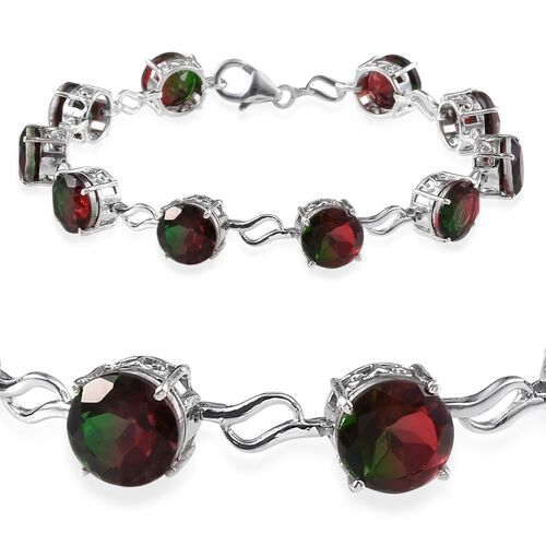 Tourmaline Colour Quartz (Rnd) Bracelet in Platinum Overlay Sterling Silver (Size 7) 22.000 Ct.