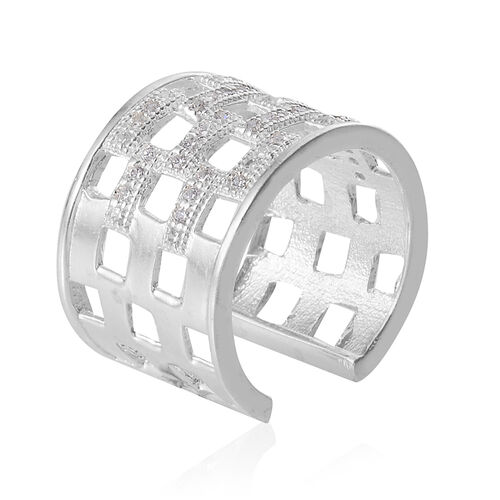 Simulated White Diamond Adjustable Band Ring in Platinum Bond