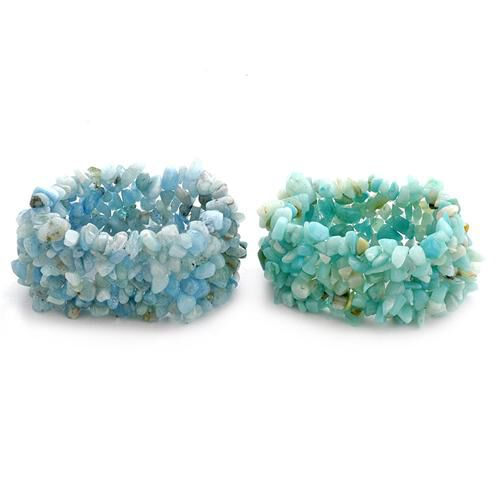 Espirito Santo Aquamarine, Russian Amazonite (Set of 2) Multi Strand Cuff  Bracelet (Stretchable) 700.000 Ct.