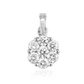 ILIANA 18K W Gold IGI Certified Diamond (Rnd 0.10 Ct) (SI/G-H) 7 Stone Floral Pendant 0.500 Ct.