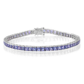 Tanzanite (10.00 Ct) 9K W Gold Bracelet (Size 7.5)  10.000  Ct.