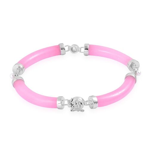 Pink Jade and Fresh Water White Pearl Bracelet (Size 7.5) in Rhodium Plated Sterling Silver 69.150 Ct.