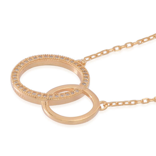 AAA Simulated White Diamond (Rnd) Circle Necklace (Size 16) in 14K Gold Overlay Sterling Silver