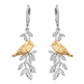 Chiffchaff Bird on Birch Branch 2 Tone Silver Earring in Platinum and Gold Overlay with Lever Back 6.00 Gms.