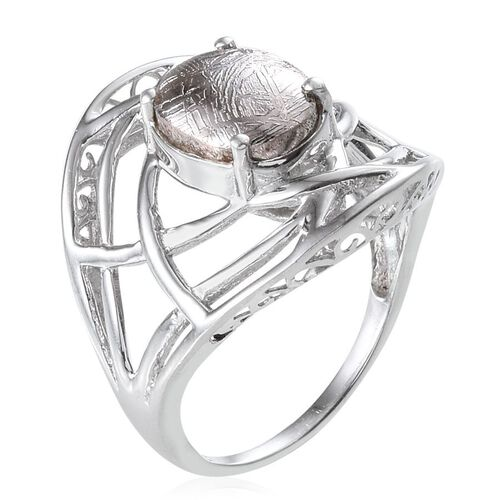 Meteorite (Ovl) Solitaire Ring in Platinum Overlay Sterling Silver 6.000 Ct.