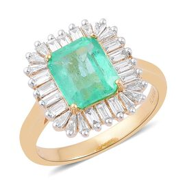 ILIANA 18K Y Gold Boyaca Colombian Emerald (Oct 2.50 Ct), Diamond Ring 3.000 Ct.