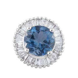 RHASODY 950 Platinum 0.97 Ct AAAA Santa Maria Aquamarine Halo Pendant with Diamond VS E-F
