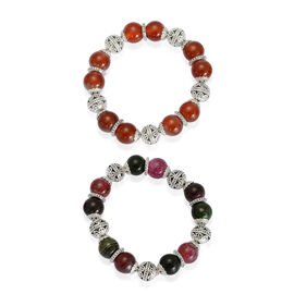 Set of 2 - Red Agate and Multi Agate  Bracelet in Silver Tone (Size 7.50)