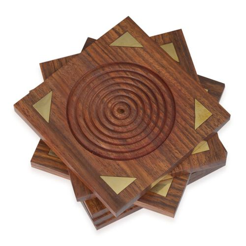 Brass Inlay Indian Rosewood Carved Square Shape 6 Pcs Coaster with Holder