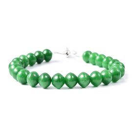 Very Rare AAA Green Adjustable Bracelet (Size 6.5 to 8) in Rhodium Plated Sterling Silver 140.000 Ct.