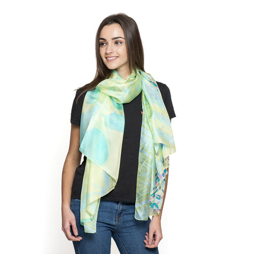100% Mulberry Silk Lemon Green and Multi Colour Abstract Pattern Printed Pareo (Size 180x100 Cm)