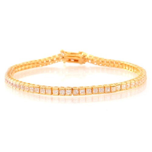 ELANZA AAA Simulated White Diamond (Sqr) Tennis Bracelet (Size 7.5) in 14K Yellow Gold Overlay Sterling Silver