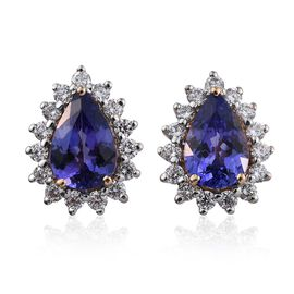 ILIANA 18K Yellow Gold AAA Tanzanite Pear, Diamond (SI G-H) Stud Earrings 3.50 Carat with Screw Back.