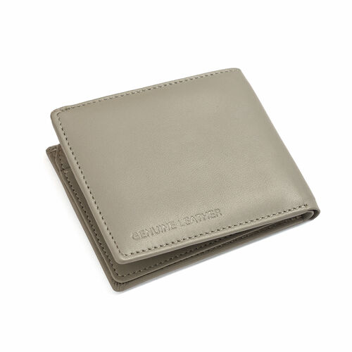 Genuine Leather Grey Colour RFID Blocker Bi-Fold Men Wallet with Card Holder (Size 11x9 Cm)