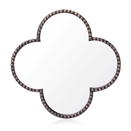 (Option 2) Clover Shaped Decorative Metallic Wall Mirror (Size 35x35 Cm)