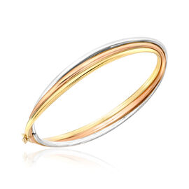 Designer Inspired 9K Yellow, White and Rose Gold Bangle (Size 7.25 ), Gold weight 9.00 Gram