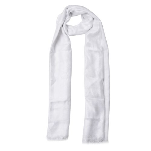 Checks Pattern Silver and White Colour Scarf (Size 180x70 Cm)