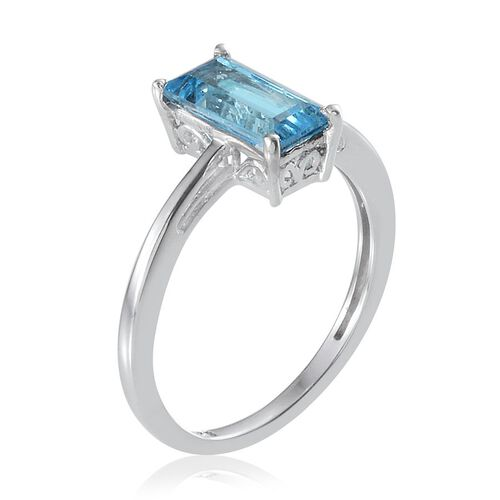 Electric Swiss Blue Topaz (Bgt) Solitaire Ring in Platinum Overlay Sterling Silver 1.750 Ct.