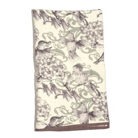 100% Cotton Flannel White and Multi Colour Humming Birds and Floral Pattern Throw (Size 150x130 Cm)