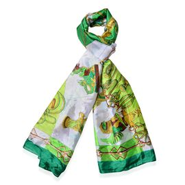 Green, Chocolate and Multi Colour the dome of the Church, Auspicious Pattern White Colour Scarf (Size 180x100 Cm)