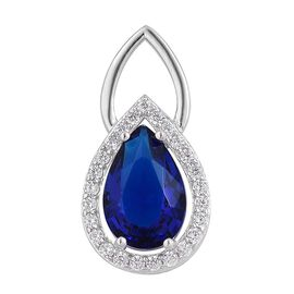 Simulated Tanzanite and Simulated White Diamond Pendant in Rhodium Plated Sterling Silver