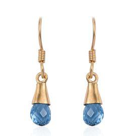 Swiss Blue Topaz Hook Earrings in 14K Gold Overlay Sterling Silver 2.820 Ct.